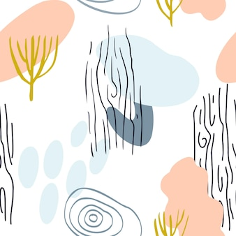 Abstract patroon met organische vormen in pastelkleur mosterdgeel, roze. biologische vector achtergrond. 80s naadloos patroon met natuur, houtstructuur. modern textiel, inpakpapier, kunst aan de muur