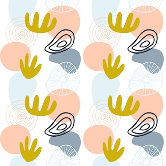 Abstract patroon met organische vormen in pastelkleuren mosterdgeel, roze. organische achtergrond met vlekken. collage naadloos patroon met aardtextuur. modern textiel, inpakpapier, kunst aan de muur