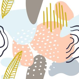 Abstract patroon met organische vormen in pastelkleuren mosterdgeel, roze. zomer achtergrond met klodder, borstel. naadloos patroon met aardtextuur. modern textiel, inpakpapier, kunst aan de muur