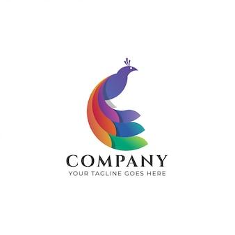 Abstract pauw logo kleurrijke sjabloon