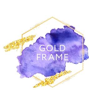 Abstract penseel verf textuur ontwerp acryl slag over gouden frame