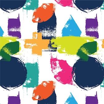 Abstract penseelpatroon met verschillende vormen Premium Vector