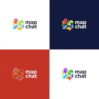 Abstract pin map chat-logo.