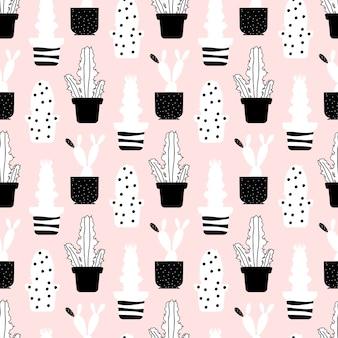 Abstract planten naadloze patroon - stijl cactussen textuur