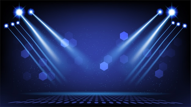 Abstract podium als achtergrond met schilderachtige lichten van ronde futuristische technologie gebruikersinterface