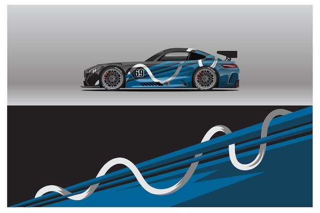 Abstract raceauto-wrap stickerontwerp en sportachtergrond voor dagelijks gebruik racekleuren of stickers