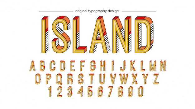 Abstract retro vet schuine gele typografie