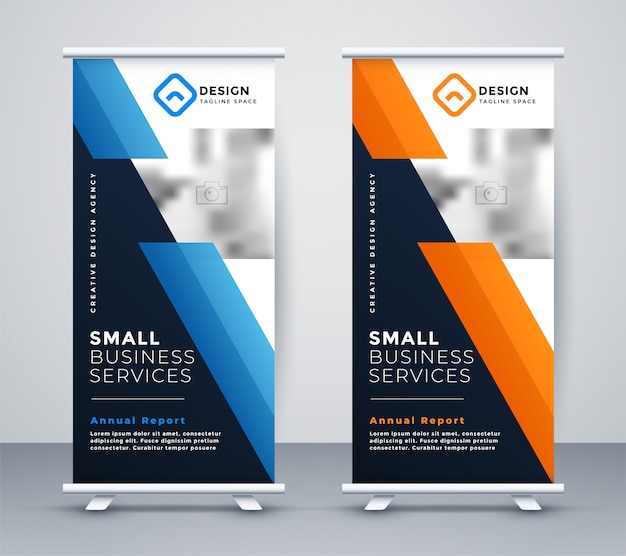 Abstract rollup bannerontwerp in geometrische stijl