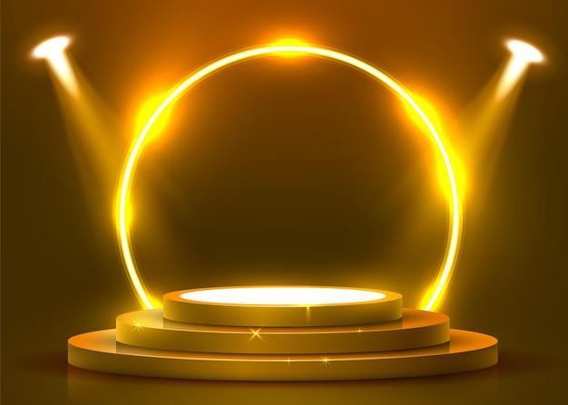 Abstract rond podium verlicht met schijnwerpers en neon. prijsuitreiking concept. stage achtergrond. vector illustratie