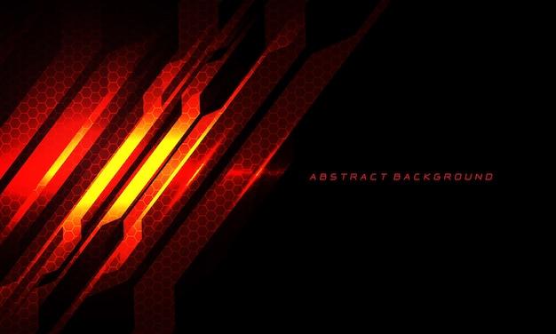Abstract rood vuurcircuit cyber slash zeshoekig gaas op zwart