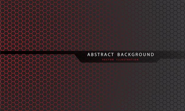 Abstract rood zeshoekig mazenpatroon op grijs met zwarte lijnveelhoek en futuristische tekstachtergrond.
