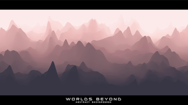 Abstract roodachtig landschap met mistige mist tot horizon over berghellingen.