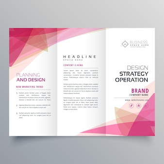 Abstract roze trifold business brochure ontwerp