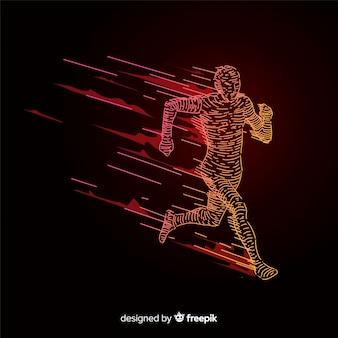 Abstract runner silhouet plat ontwerp