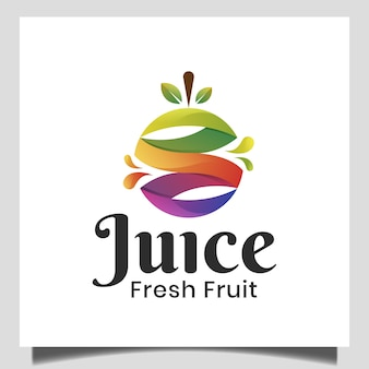 Abstract sapembleem met vers fruit voor dieet, gezond voedsel, vegetarisch, natuurlijk voedingsembleem