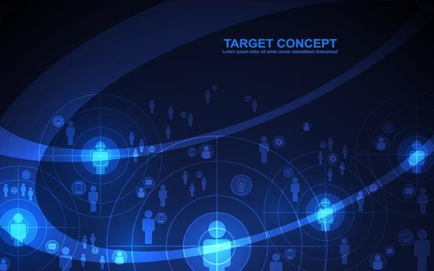 Abstract schietend doelpublieksjabloon op zwarte blauwe achtergrond.