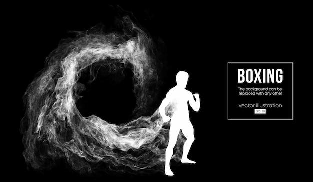 Abstract silhouet van een bokser op de zwarte achtergrond