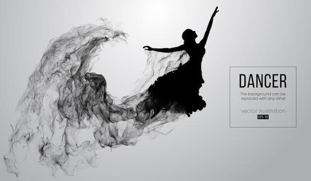 Abstract silhouet van een dansend meisje op witte achtergrond