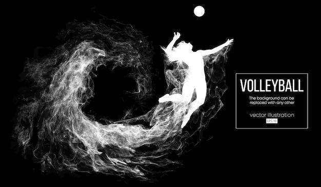 Abstract silhouet van een de vrouwenillustratie van de volleyballspeler