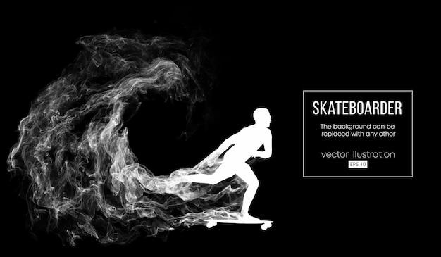 Abstract silhouet van een skateboarder op de donkere zwarte achtergrond