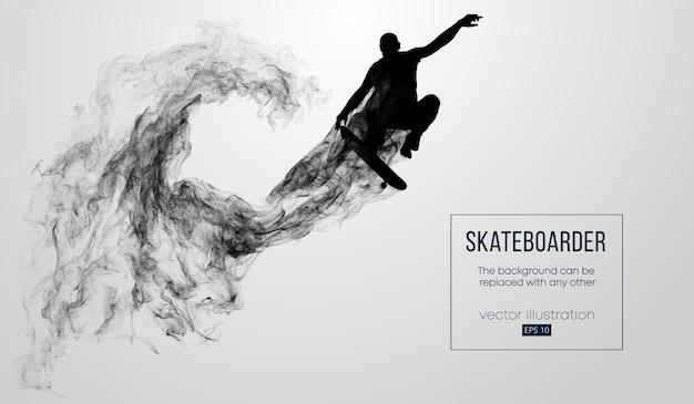 Abstract silhouet van een skateboarder op de witte achtergrond