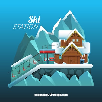 Abstract skigebied ontwerp