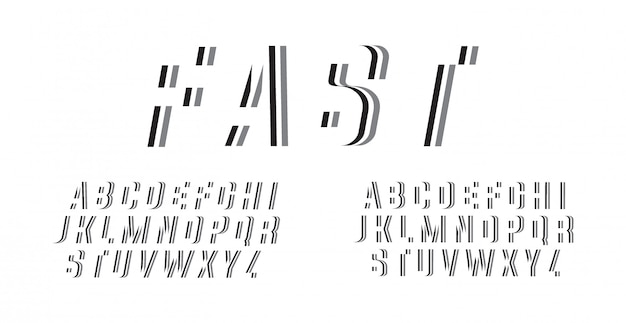 Abstract snel lettertype alfabet