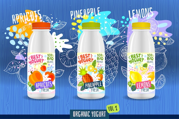 Abstract splash yoghurtfles labelsjabloon, reclameaffiche. fruit, biologisch, yoghurt, melkpakketontwerp. abrikozen, ananas, citroen. tekening illustratie