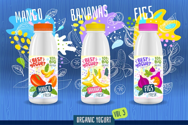 Abstract splash yoghurtfles labelsjabloon, reclameaffiche. fruit, biologisch, yoghurt, melkpakketontwerp. mango, banaan, vijg. tekening illustratie