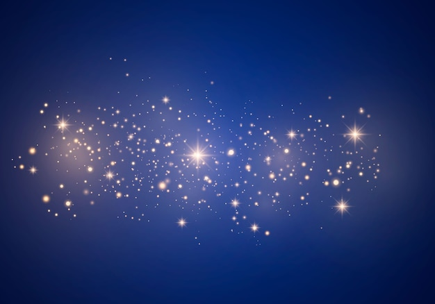 Abstract stijlvol lichteffect op een blauwe achtergrond. gele stofgele vonken en gouden sterren schijnen met speciaal licht. luxe schittert sprankelende magische stofdeeltjes.