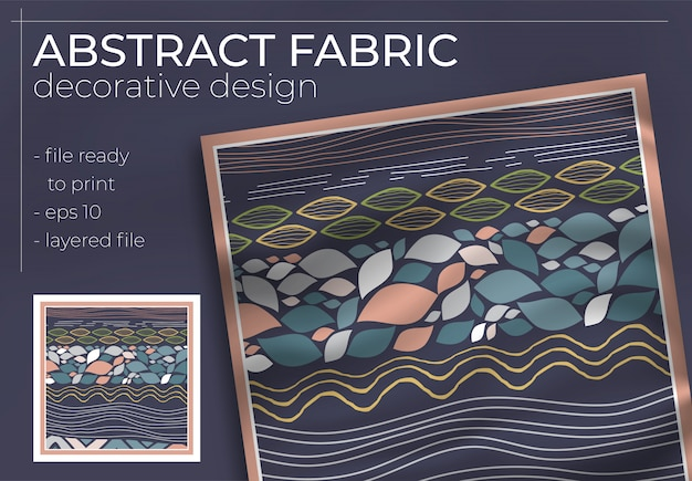 Abstract stof decoratief ontwerp met realistische mock-up voor drukproductie. hijab, sjaal, kussen, etc.