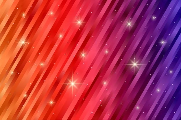 Abstract streeppatroon met knipperend sterlicht in gradiëntkleur