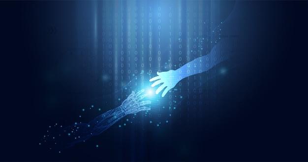 Abstract technologie ai concept technologische samenwerking van mens