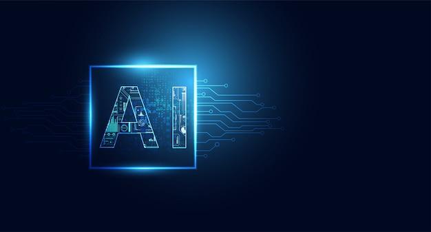 Abstract technologie ai gegevensverwerkingsconcept het werken