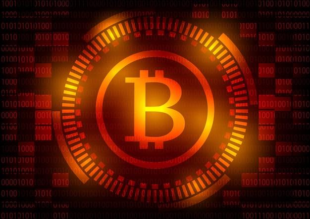Abstract technologie bitcoins embleem op rode toestelachtergrond.