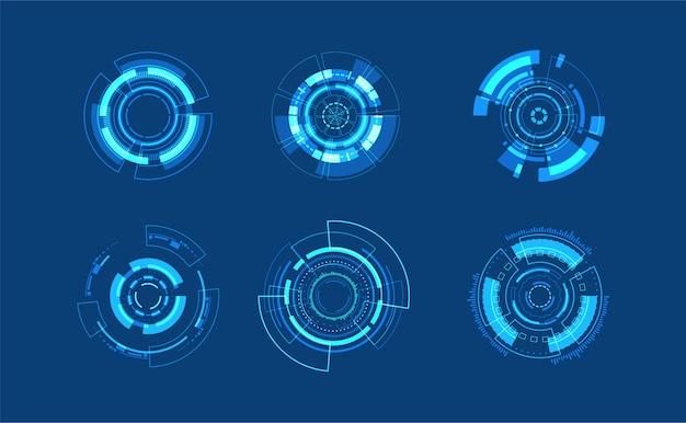 Abstract technologie cirkel decorontwerp. pictogram bewerkbare beroerte