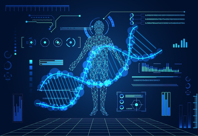 Abstract technologieconcept menselijk lichaam digitale gezondheidszorg