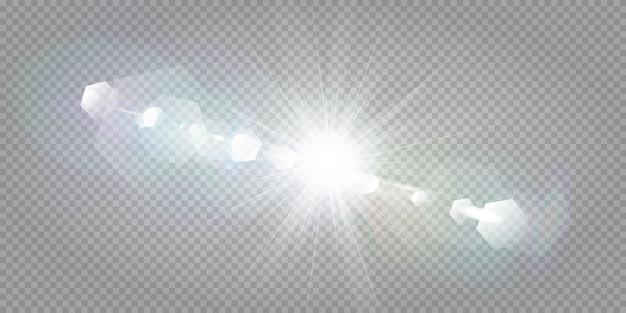 Abstract transparant zonlicht speciaal lens flare lichteffect. vervaging in beweging gloed schittering. geïsoleerde transparante achtergrond. decor element. de horizontale ster barstte stralen en schijnwerper.