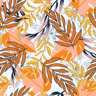 Abstract trend naadloos patroon met kleurrijke tropische bladeren en planten