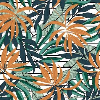 Abstract tropisch naadloos patroon met kleurrijke bladeren en planten