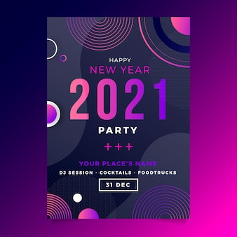 Abstract typografisch nieuwjaar 2021 partij poster sjabloon