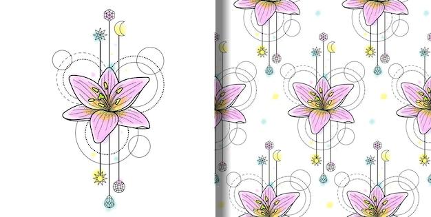 Abstract vector aquarel lily print en naadloos patroon met geometrische elementen