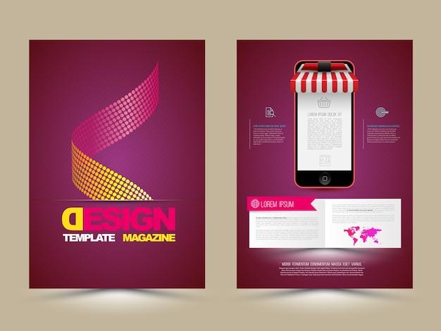 Abstract vector brochure sjabloon met smartphones