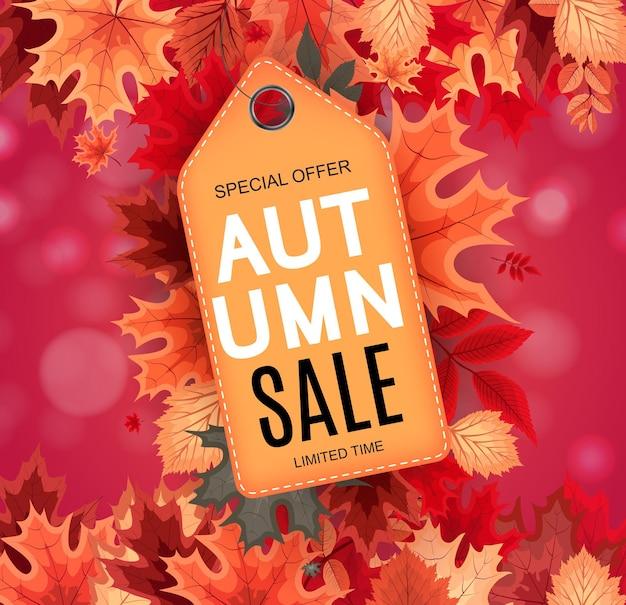 Abstract vector illustratie herfst verkoop achtergrond met vallende herfst bladeren. eps10