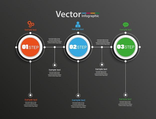 Abstract vector infographics nummer opties sjabloon met 3 stappen