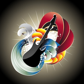 Abstract vector kleurrijk gitaar ontwerp bezoek mijn gallary voor meer ontwerpen als deze