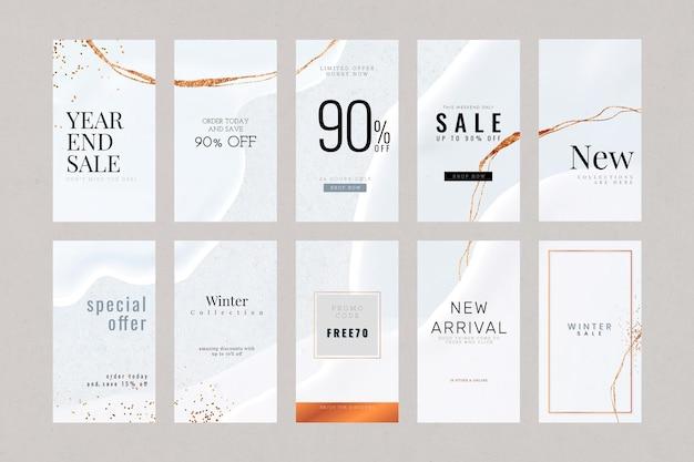 Abstract vector luxe sociale verhaal sjabloon set