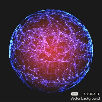 Abstract vector mesh rode bollen futuristische technologie laag poly stijl