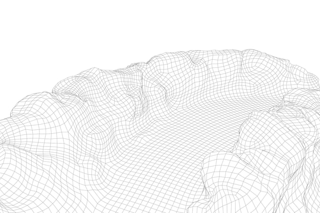 Abstract vector wireframe landschap-achtergrond. 3d futuristische mesh-bergen. 80s retro afbeelding. cyberspace-technologievalleien.
