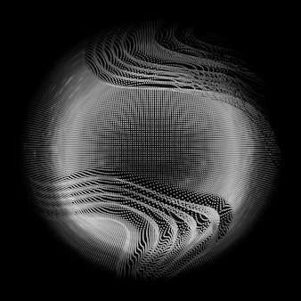 Abstract vector witte mesh bol op donkere achtergrond. futuristische stijlkaart. elegante achtergrond voor zakelijke presentaties. grauscale beschadigde puntbol. chaos-esthetiek.